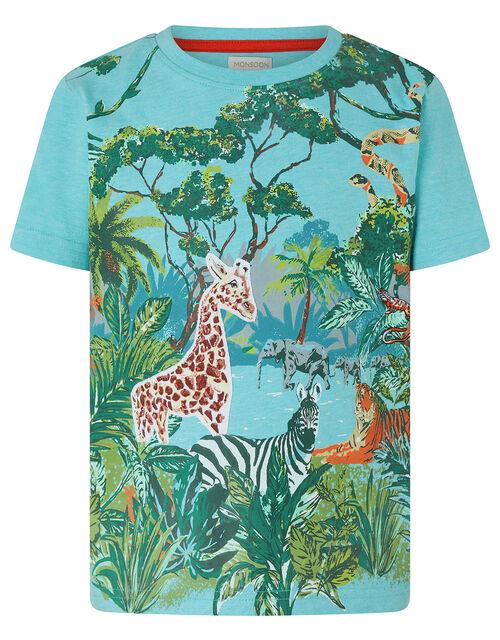 Basil Jungle Scene T-Shirt, Blue (BLUE), large