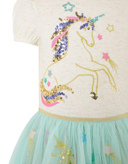 Sequin Unicorn Disco Dress, Blue (AQUA), large