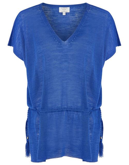 Demi Tassel Drawstring Top in Linen Blend, Blue (BLUE), large
