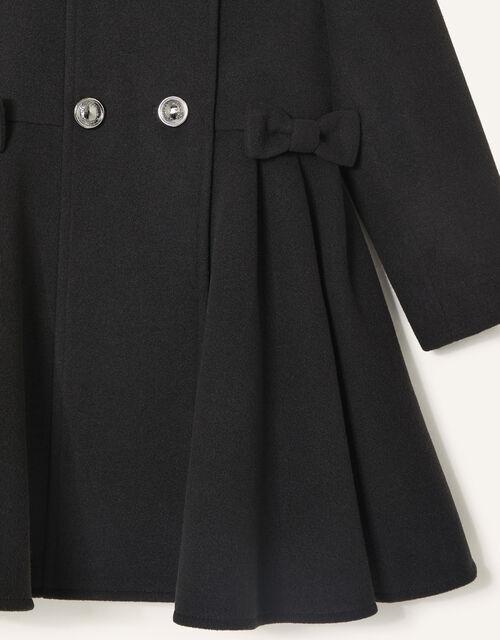 Bow Side Hooded Coat, Black (BLACK), large