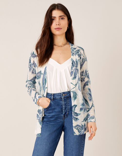 Balinese Print Cardigan in Linen Blend, Ivory (IVORY), large