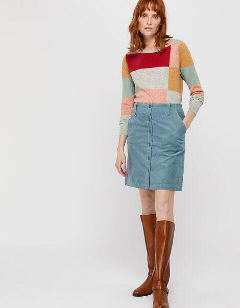 Jessica Jumbo Cord Skirt Blue, Blue (BLUE), large