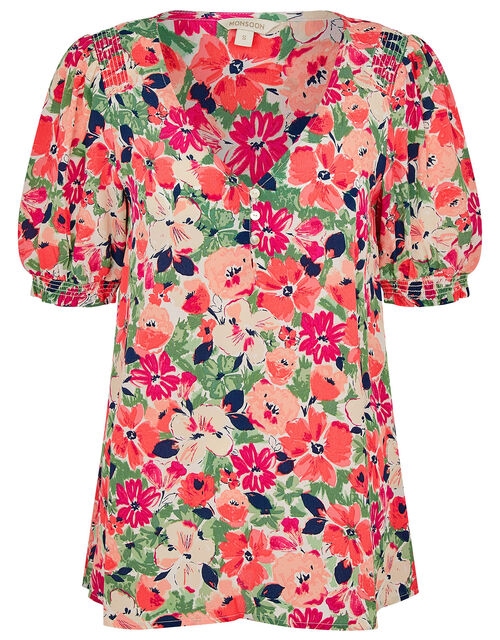 Autumn Printed Top in Sustainable Viscose , Pink (BLUSH), large