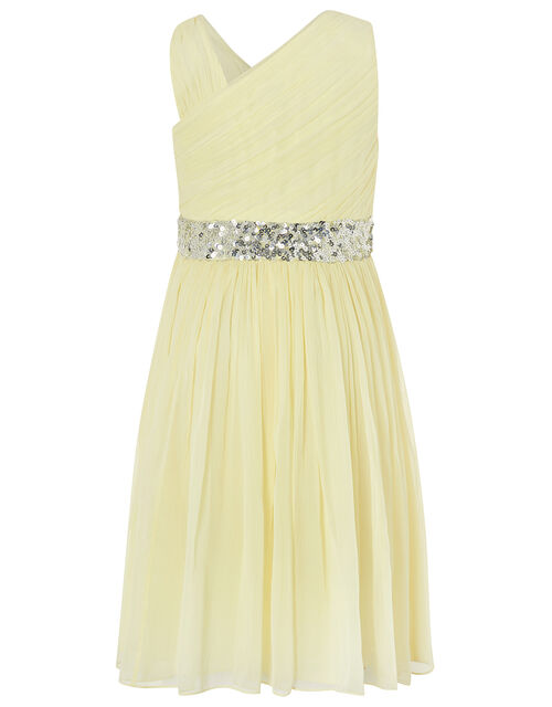Abbey One-Shoulder Dress with Sequin Waistband, Yellow (LEMON), large