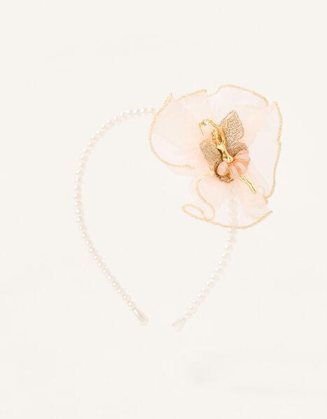 Organza Ruffle Ballerina Pearl Headband, , large