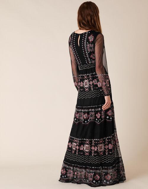 Atelier Heather Embroidered Maxi Dress, Black (BLACK), large