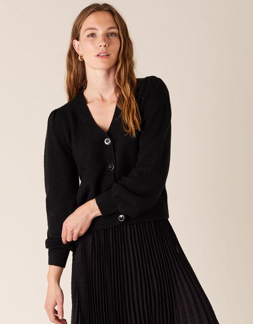 Blouson Sleeve Cardigan with Recycled Fabric, Black (BLACK), large