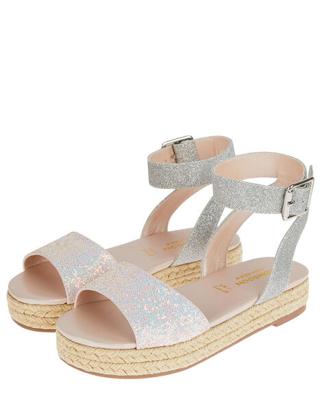 Mermaid Glitter Espadrille Sandals Silver, Silver (SILVER), large