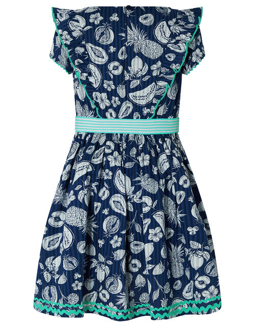 Naomi Fruit Print Dress in Organic Cotton, Blue (NAVY), large