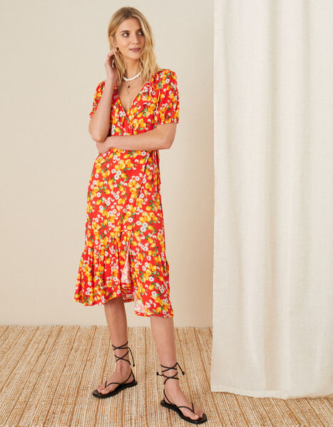 Lily Lemon Print Wrap Dress  Red, Red (RED), large