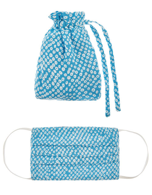 Ditsy Print Pleated Face Mask in Pure Cotton, , large