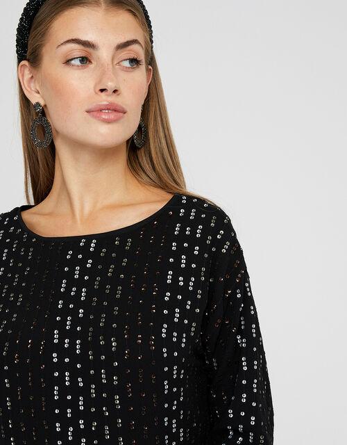 Yara Sequin Dolman Sleeve Tunic Dress, Black, large