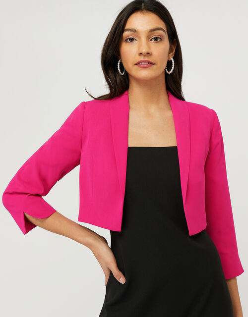 Juni Sustainable Cropped Smart Jacket, Pink (PINK), large