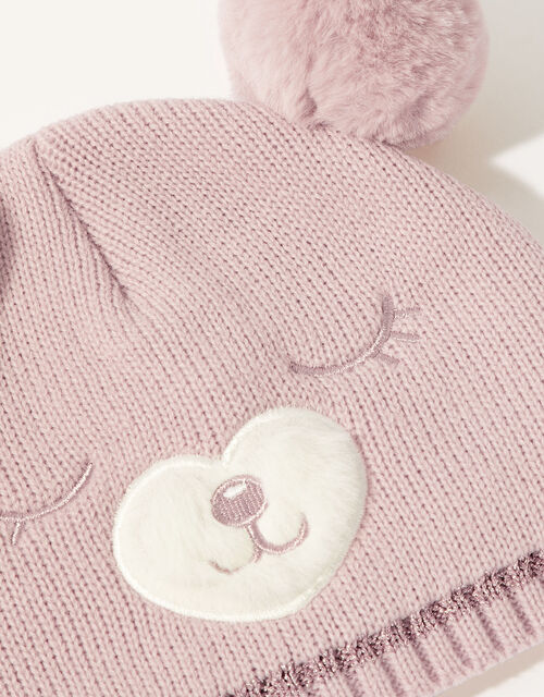 Florrie Pom-Pom Bear Beanie, Pink (PINK), large