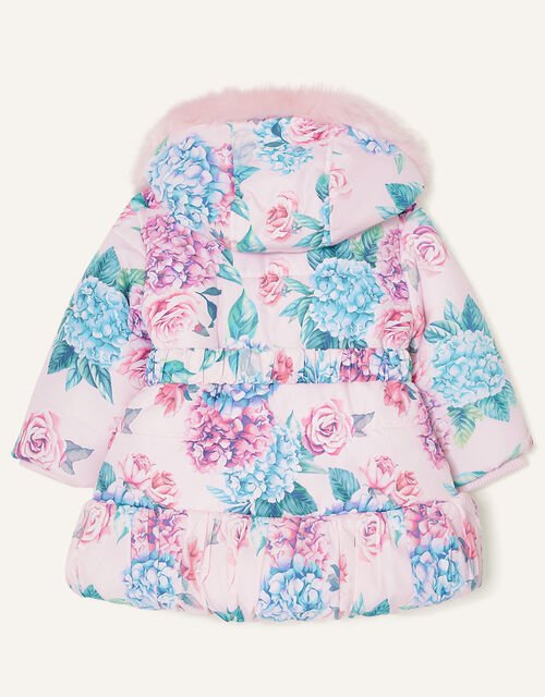 Baby Floral Padded Puffball Coat, Pink (PALE PINK), large