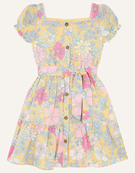 Floral Puff Sleeve Dress in Linen Blend Yellow, Yellow (YELLOW), large