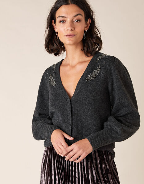 Feather Embellished Short Knit Cardigan Grey, Grey (CHARCOAL), large