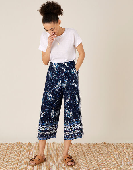 Paisley Print Crop Trousers in LENZING™ ECOVERO™ Blue, Blue (NAVY), large