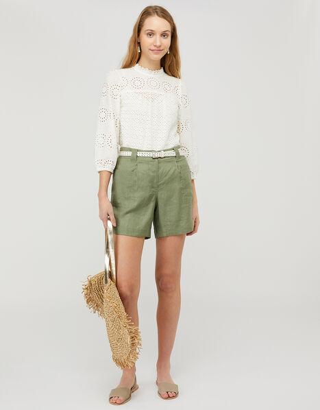 Lottie Shorts in Pure Linen Green, Green (KHAKI), large