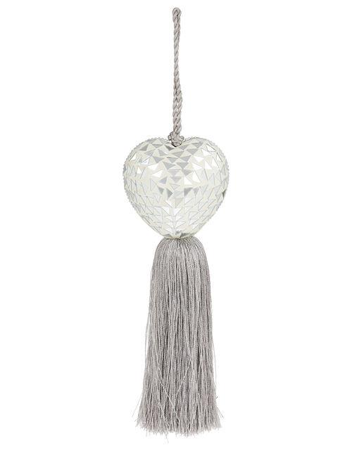 Embellished Heart Door Hanging Decoration, Grey (GREY), large
