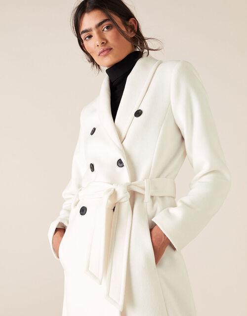 Double-Breasted Long Coat, White (WHITE), large