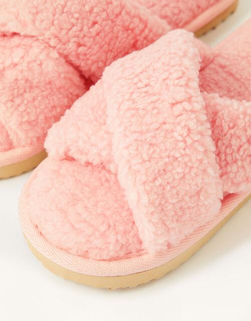 Cross Strap Slider Slippers , Pink (PINK), large