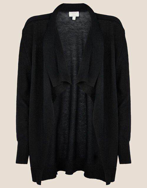 Waterfall Cardigan in Linen Blend , Black (BLACK), large