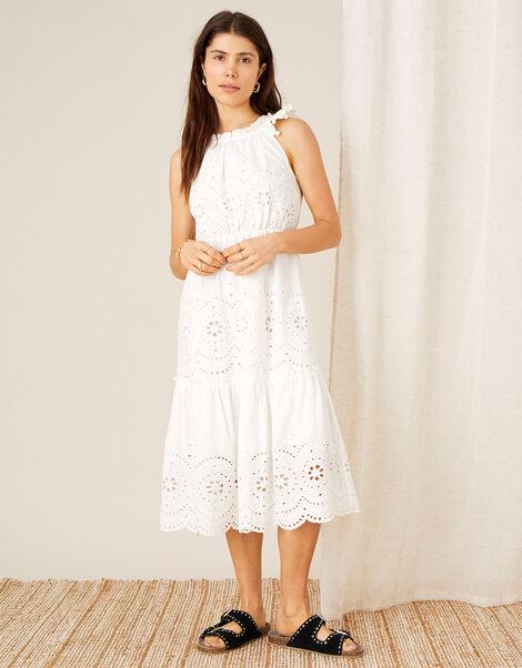 Schiffli Dress with Organic Cotton  White, White (WHITE), large
