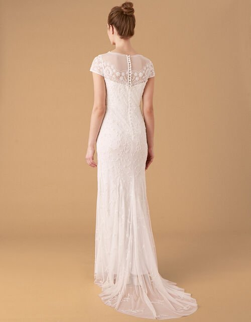 Sophie Beaded Floral Bridal Dress, Ivory (IVORY), large