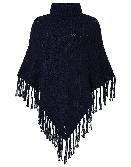 Penelope Cable Knit Poncho, , large