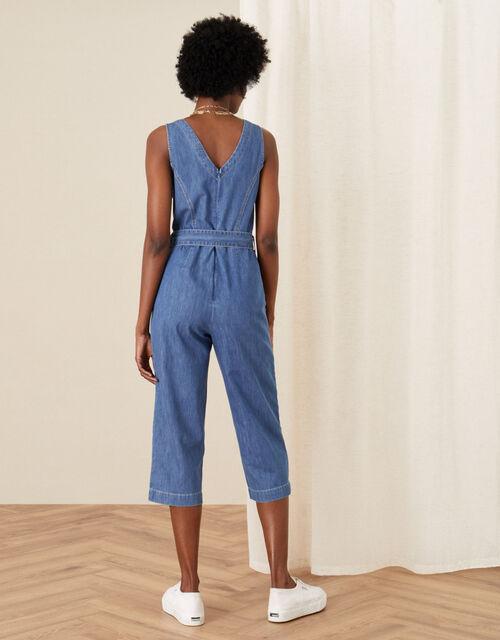 Cropped Denim Jumpsuit, Blue (DENIM BLUE), large