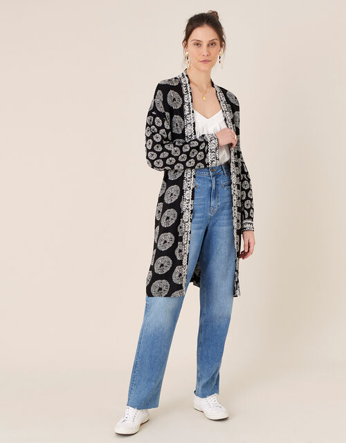 ARTISAN STUDIO Circle Print Kimono, Black (BLACK), large
