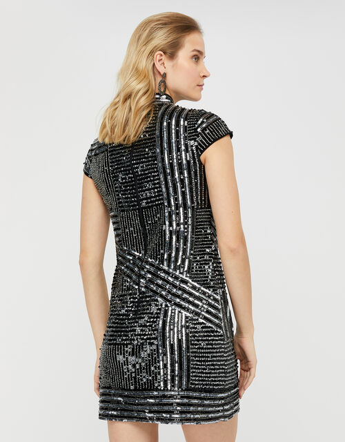 Brienne Linear Embellished Tunic Dress, Silver, large