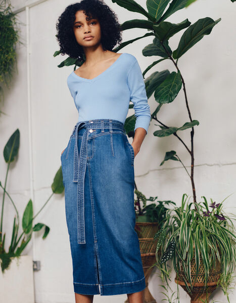 Straight Denim Midi Skirt Blue, Blue (DENIM BLUE), large