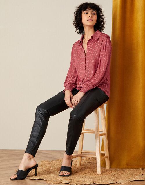 Animal Jacquard Long Sleeve Shirt, Pink (ROSE), large