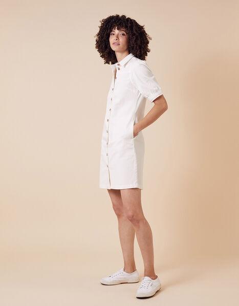 Denim Shirt Dress in Recycled Cotton Ivory, Ivory (IVORY), large