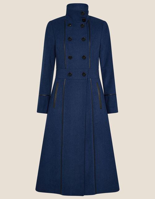 Rosalee PU Tipped Coat, Blue (BLUE), large