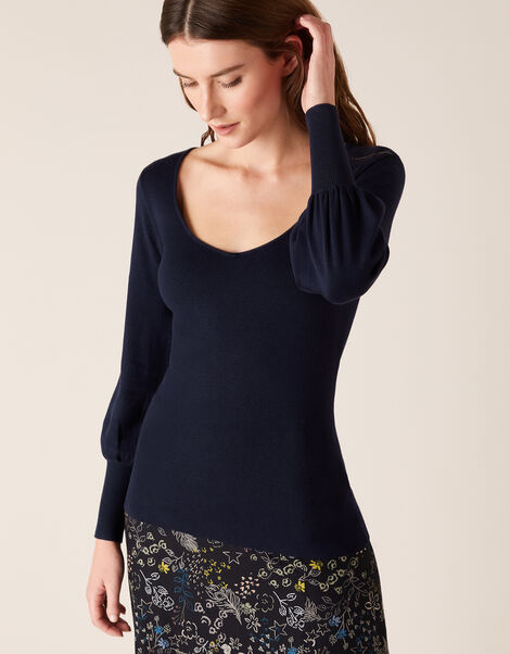 Sweetheart Neck Jumper Blue, Blue (NAVY), large