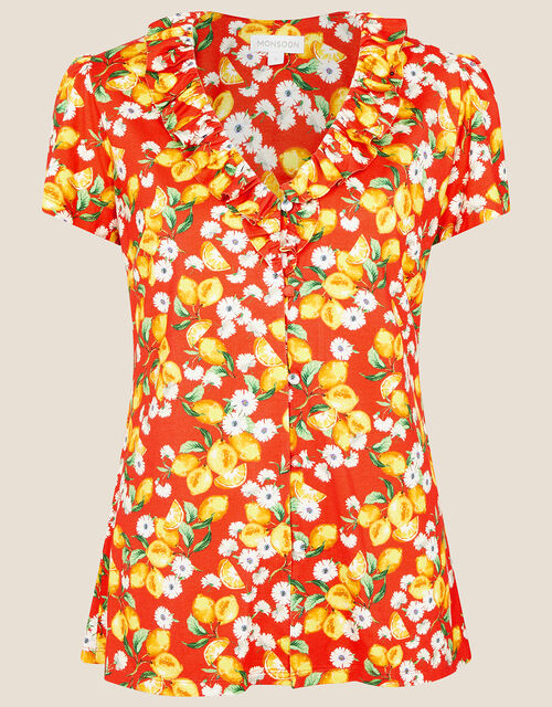 Lily Lemon Print Ruffle Top , Red (RED), large