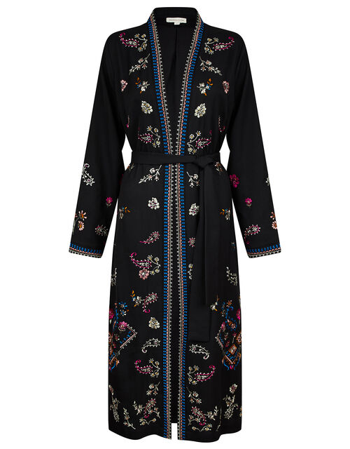 Raja Embroidered Kimono in Recycled Fabric, Black (BLACK), large