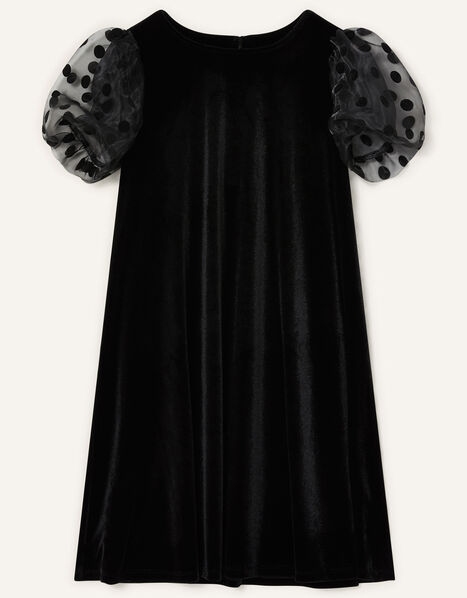Organza Sleeve Velvet Dress Black, Black (BLACK), large