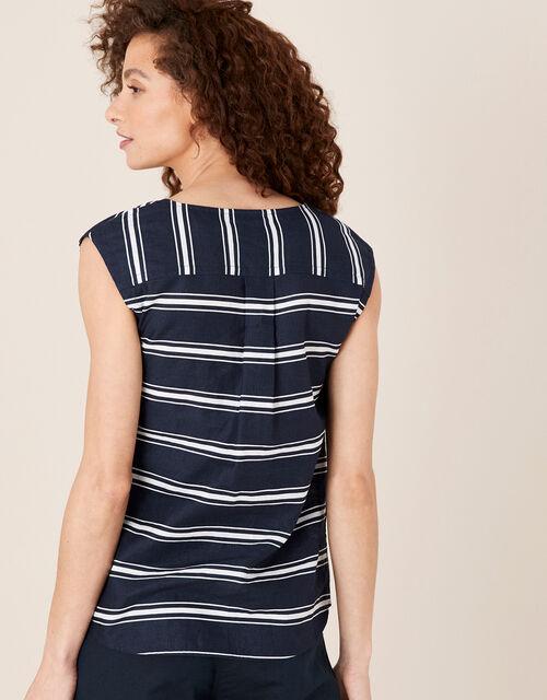 Stripe Sleeveless Top in Linen Blend, Blue (NAVY), large