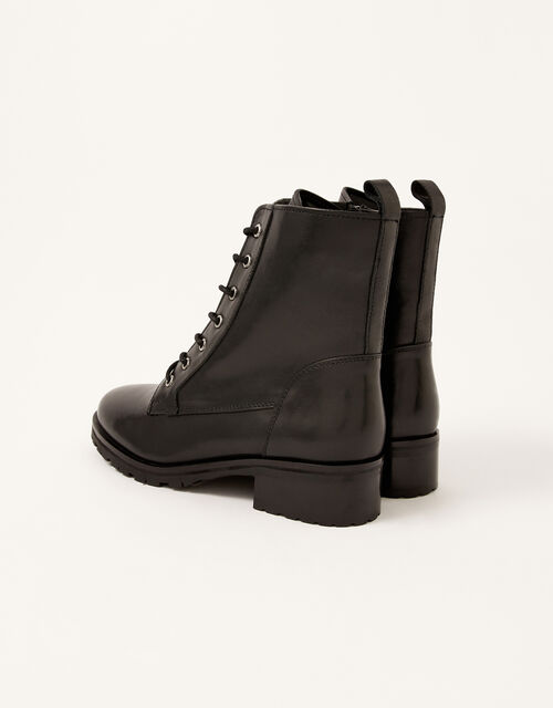 Letty Leather Lace-Up Biker Boots, Black (BLACK), large