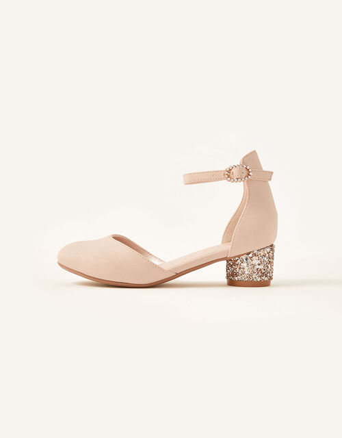 Glitter Heel Shoes, Pink (PALE PINK), large