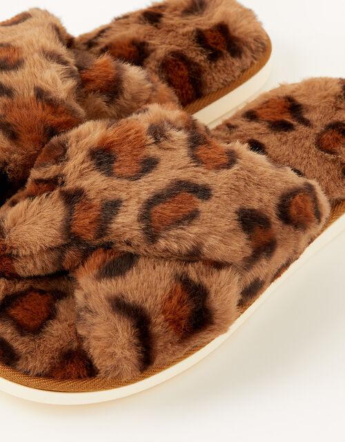 Animal Faux Fur Slippers, Brown (BROWN), large
