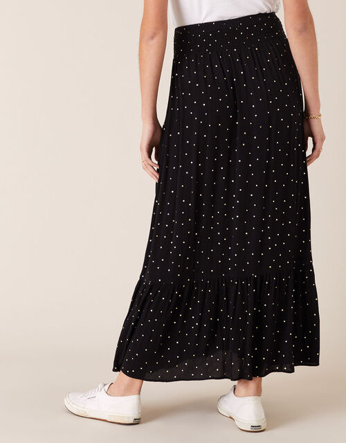 Foil Print Maxi Skirt in Sustainable Viscose, Black (BLACK), large