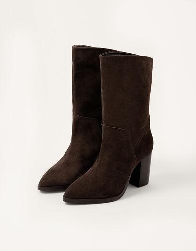 Sam Suede Block Heel Boots Brown, Brown (CHOCOLATE), large