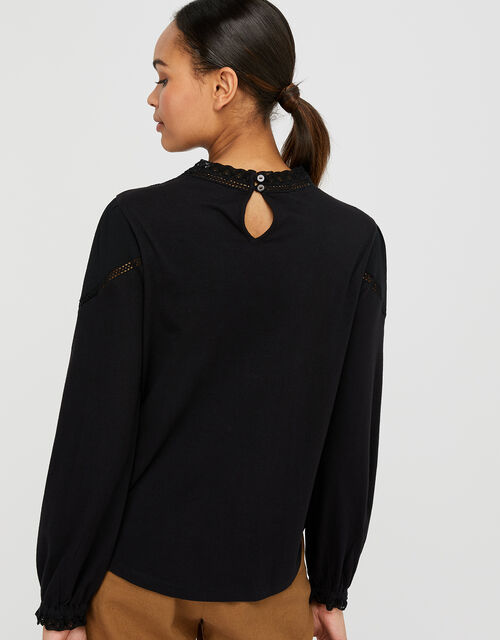 Vicky Victoriana Woven Front Top, Black (BLACK), large
