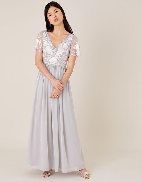 Daphnee Embroidered Maxi Dress, Grey (GREY), large