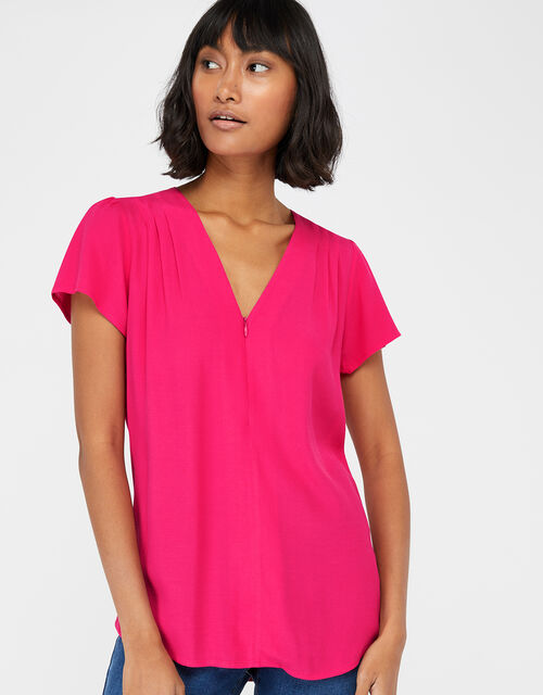 Nyla Zip Front Short Sleeve Blouse, Pink (PINK), large